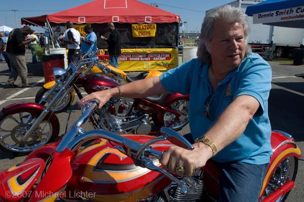 Donnie Smith on one of his customs at his in field Speedway venue during Bike Week in Daytona Beach, FL, USA. March 8, 2007. Photography ©2007 Michael Lichter. Copyright: ©2007 Michael Lichter