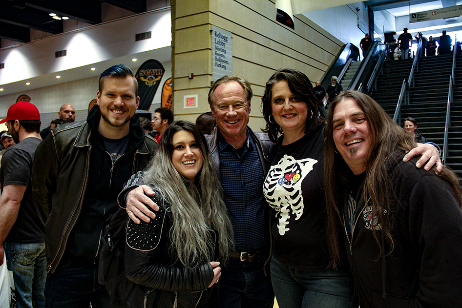 Sturgis Buffalo Chip president Rod Woodruff with the Jasmine Cain band at the 2019 Donnie Smith Bike & Car Show