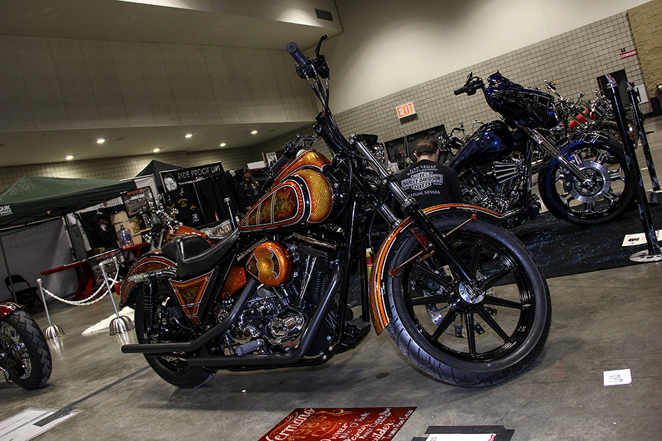 Many styles of cool paint on Joe Manley's FXR at the 2019 Donnie Smith Bike & Car Show