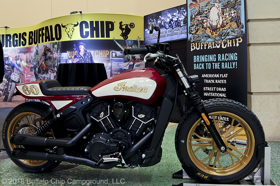 A custom Indian Scout Sixty being given away through the Buffalo Chip's Moto Stampede Bike Giveaway