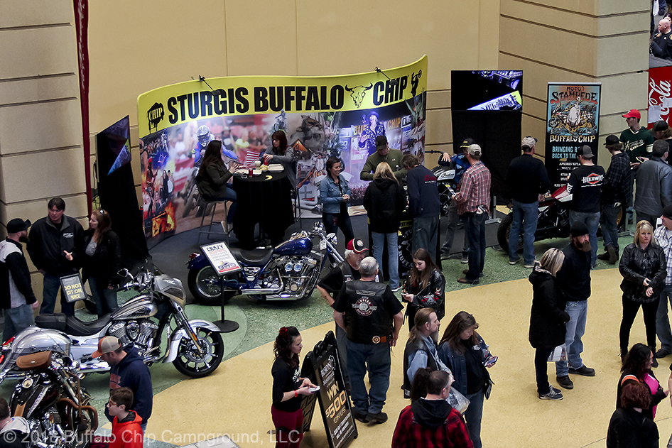 Two custom motorcycles and the purpose built Indian FTR 750 were on display in the Sturgis Buffalo Chip display.