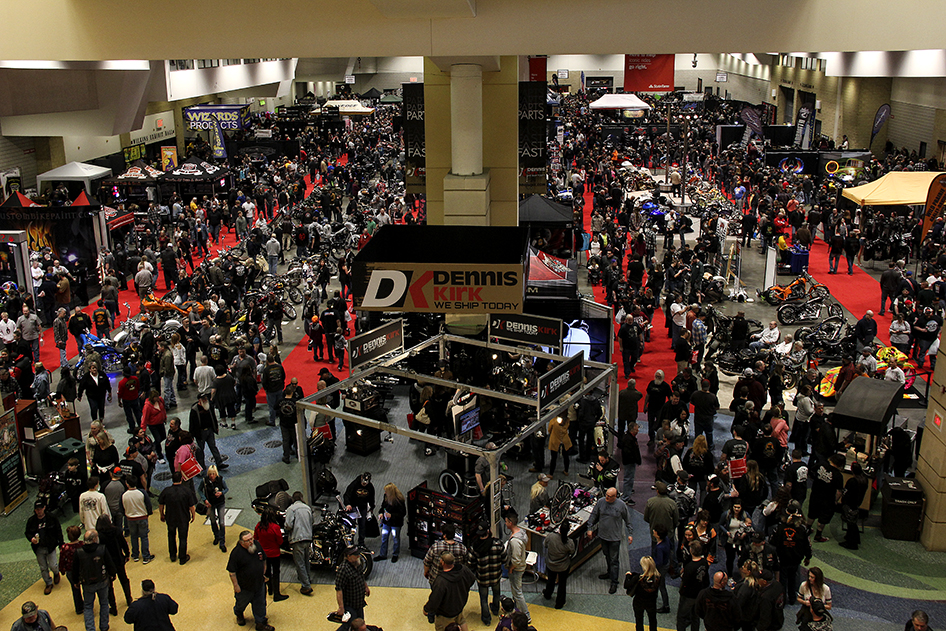 View of the show floor filled with people and custom motorcycles at the 2019 Donnie Smith Bike & Car Show