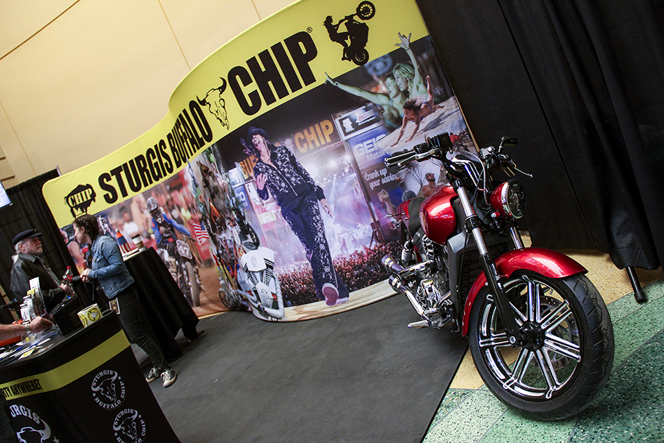 Donnie Smith Show attendees learn about the Best Party Anywhere and register to win bikes in the Sturgis Buffalo Chip booth